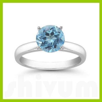 Genuine 2.0 ctw Blue Topaz Solitaire Ring 14kt