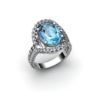 Topaz 5.63 ctw & Diamond Ring 18kt W/Y  Gold