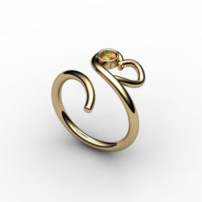 Citrine 0.10 ctw Heart Design Ring 18kt W/Y Gold