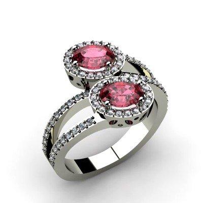 Garnet 1.43 ctw & Diamond Ring 14kt W/Y  Gold