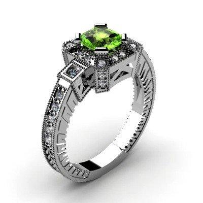 Genuine 1.68 ctw Green Tourmaline Diamond Ring 10k