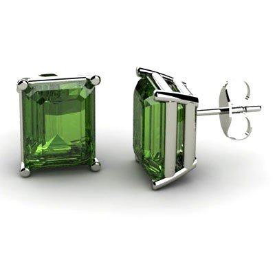 Genuine 7.20 ctw Green Tourmaline Earring 14k W/Y Gold