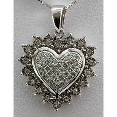 Genuine 0.16 ctw Diamond Puff Center Heart Pendant 14K