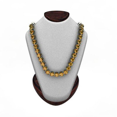 Citrine 14.40 ctw Round Necklace 14kt W/Y Gold