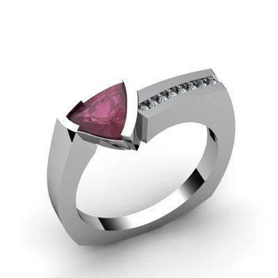 Genuine 1.08 ctw Ruby  Euro Shank Diamond Ring 14k