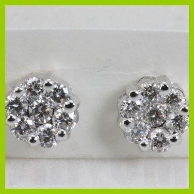 Genuine  1.05 ctw Diamond Earring 18KT White  Gold