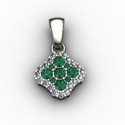 Genuine 0.52 ctw Emerald Diamond Pendant 10k W/Y Gold