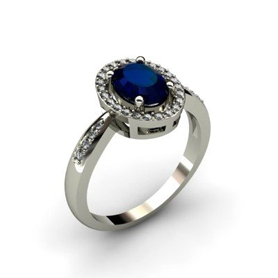 Sapphire 1.80 ctw & Diamond Ring 14kt W/Y  Gold