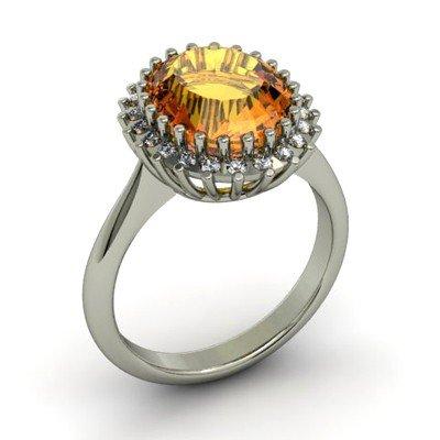 Citrine  4.42 ctw & Diamond Ring 18kt W/Y  Gold