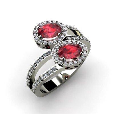 Ruby 1.53 ctw & Diamond Ring 14kt W/Y  Gold