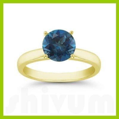 Genuine 0.85 ctw London Blue Topaz Solitaire Ring 14kt