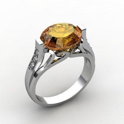 Genuine 4.29 ctw Citrine Ring 18k W/Y Gold