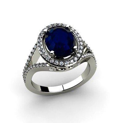 Sapphire 3.73 ctw & Diamond Ring 18kt W/Y  Gold