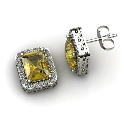 Genuine 3.50 ctw Citrine Diamond Earring 14k W/Y Gold