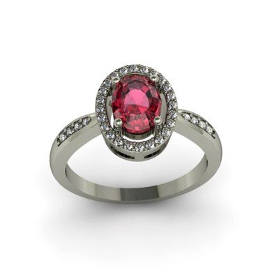 Garnet 1.65 ctw & Diamond Ring 18kt W/Y  Gold