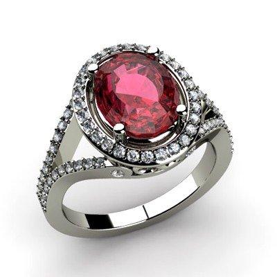 Garnet 3.38 ctw & Diamond Ring 18kt W/Y  Gold