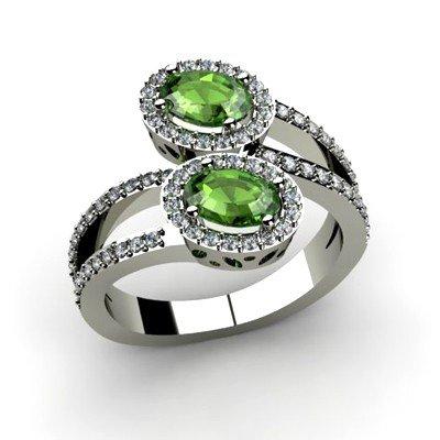 Tourmaline 1.33 ctw & Diamond Ring 14kt W/Y  Gold