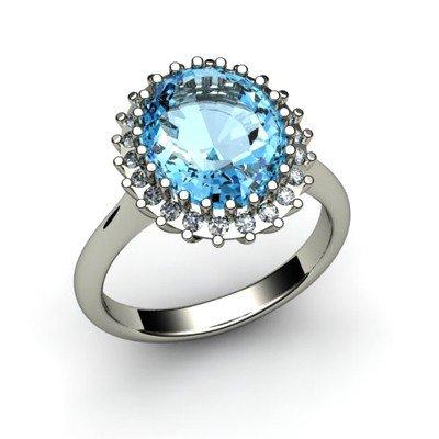 Aqua Marine 4.72 ctw & Diamond Ring 18kt W/Y  Gold