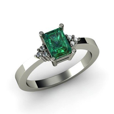 Genuine 0.66 ctw Emerald Diamond Ring 14k