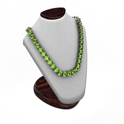 Peridot 18.72 ctw Round Necklace 14kt W/Y Gold