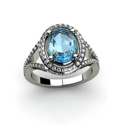 Topaz 4.08 ctw & Diamond Ring 14kt W/Y  Gold