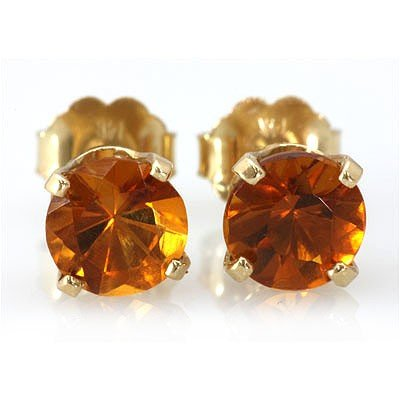 Genuine 2.10 ctw Orange Sapphire Stud Earring 14k 0.86g