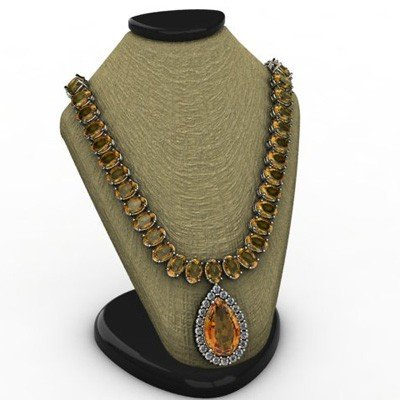 Genuine 38.50 ctw Citrine Necklace 18k W/Y Gold approx.