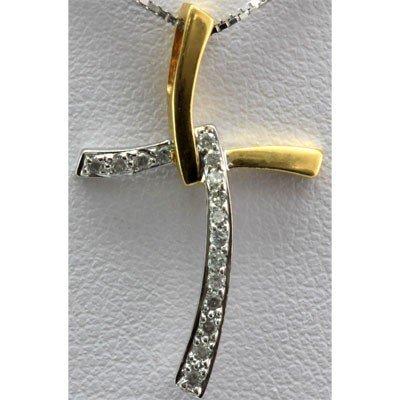 Genuine 0.14 ctw Diamond Cross Pendant 14k 2-Tone Gold