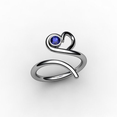 Sapphire 0.15 ctw Heart Design Ring 18kt W/Y Gold