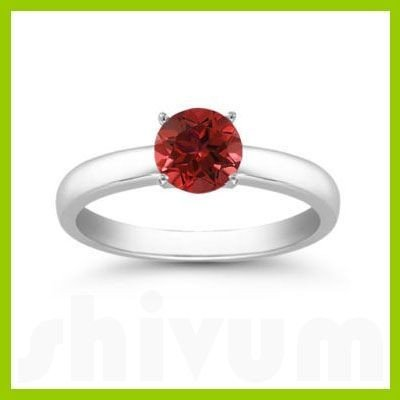 Genuine 0.55 ctw Ruby Solitaire Ring 14kt Gold-White