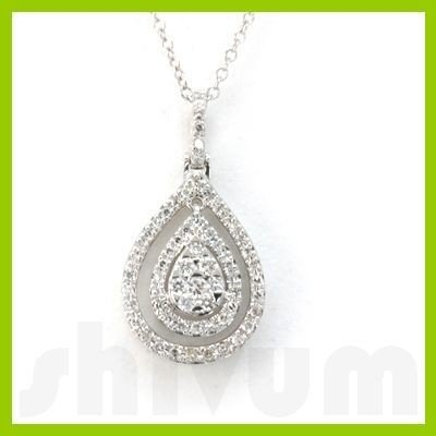 "Genuine 0.33 ctw 14k White Gold Necklace 18"" 3.10g"