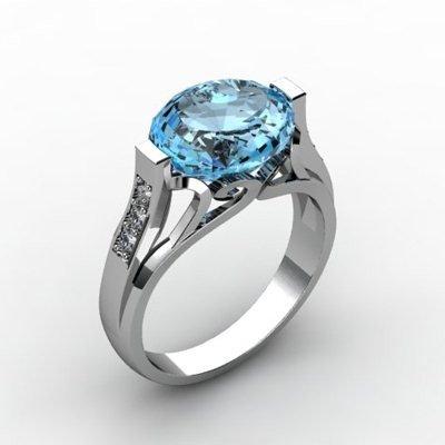 Genuine 4.59 ctw Aqua Marine Ring 18k W/Y Gold