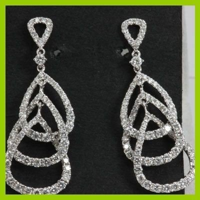 Genuine  1.51 ctw Diamond Earring 18KT White Gold