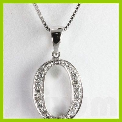 "Genuine 0.14 ctw Letter O Diamond Necklace 16"" 14kt"