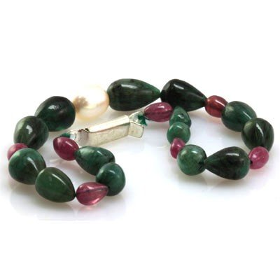 Natural Emerald, Ruby Teardrop Pearl Bracelet 69.72 ctw