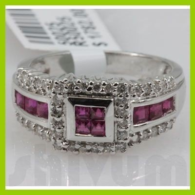 Genuine 1.24 ctw 18k Ruby & Diamond White Gold Ring