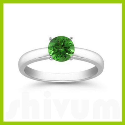 Genuine 0.40 ctw Emerald Solitaire Ring 14kt
