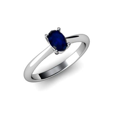 Genuine 0.60 ctw Sapphire Ring 14k W/Y Gold
