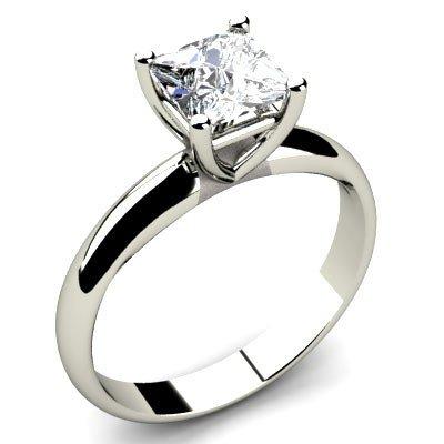 0.85 ct Princess cut Diamond Solitaire Ring, G-H, SI-I