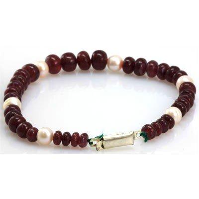 Natural Ruby 6 Pearl Briolettes Bracelet 104.42 ctw