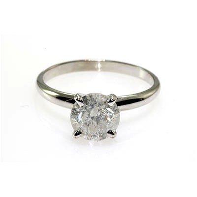 Solitaire Ring Round Diamond 1.71ctw 14K White Gold