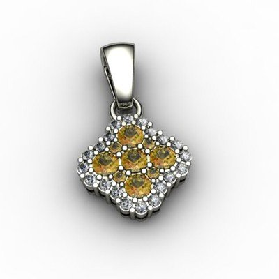Genuine 0.52 ctw Citrine Diamond Pendant 10k W/Y Gold