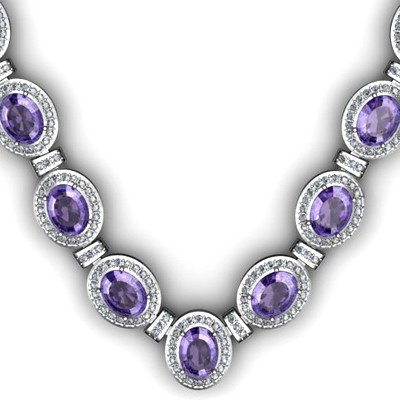 Certified 38.60 ctw Tanzanite Diamond Necklace 18k