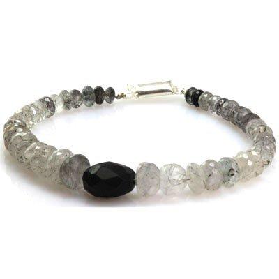 Natural Black Rutile Bracelet  Center Onyx 132.21 ctw