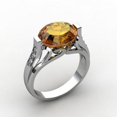 Genuine 4.29 ctw Citrine Ring 14k W/Y Gold