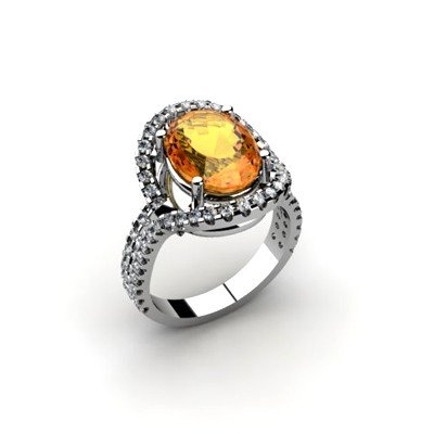 Citrine 4.37 ctw & Diamond Ring 18kt W/Y  Gold