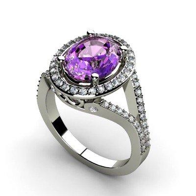 Amethyst 2.98 ctw & Diamond Ring 14kt W/Y  Gold