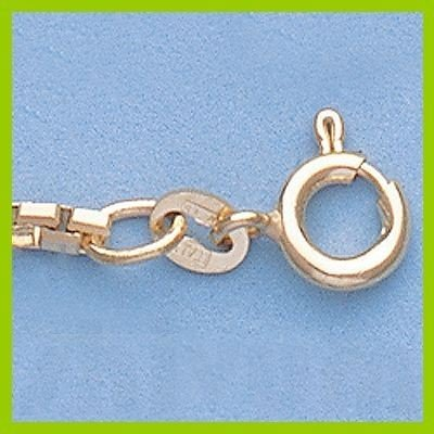 "Genuine 16"" 14k  Gold-Yellow 2.1mm 8 Sided Box Chain"