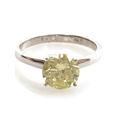 Certified 2.03 ctw Diamond Solitaire Ring 14k W Gold