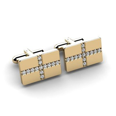 Genuine 0.78 ctw Diamond Cufflink 14k W/Y Gold